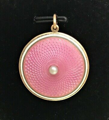 9ct Gold Antique Art Deco Pink Guilloche Locket / Pendant with real Pearl