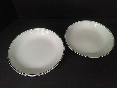 MIkasa Wellesley Narumi Japan China White Coupe w/Platinum Trim Soup Bowls (4)