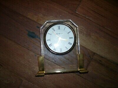 Used Howard Mille Running Mantle Clock With Beveled Glass & Solid Brass Base