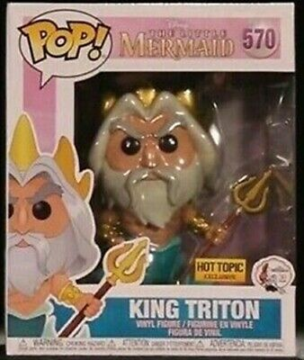 "Funko Pop Disney #570 King Triton 6"" Little Mermaid Hot Topic Exclusive"