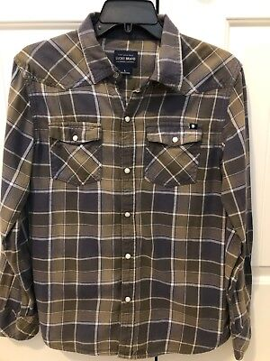 LUCKY BRAND Boys Long Sleeve Flannel Shirt Size L