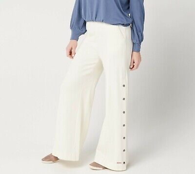 Peace Love World Womens French Terry High-Waist Monica Pant Ivory Large Size QVC