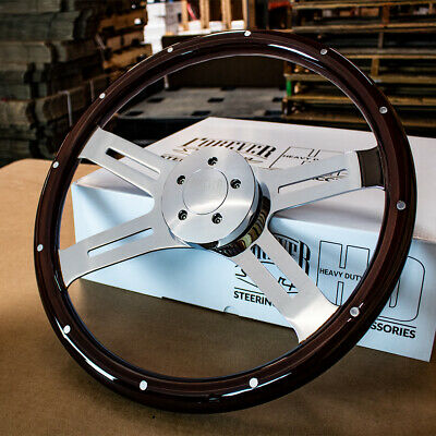 "18"" Classic Steering Wheel Dark Wood with 5-Bolt Horn for Freightliner 96-06"