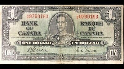 1937 Bank Of Canada 1$ Gordon-Tower L/M
