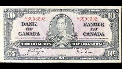 1937 Bank Of Canada 10$ Coyne-Tower L/T