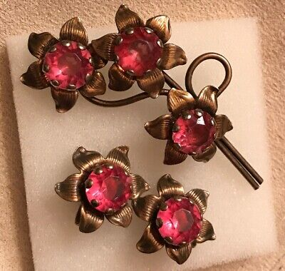 Sterling Silver Vintage Antique Pink Rhinestone Sunflower Pin Brooch Earring Set