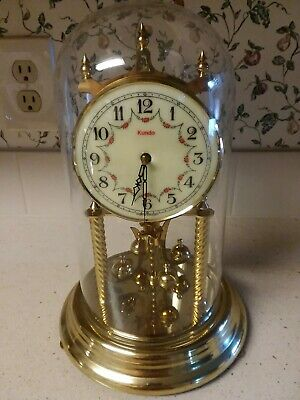 Vintage Brass 400-Day Kundo Anniversary Clock Glass Dome Germany with Key