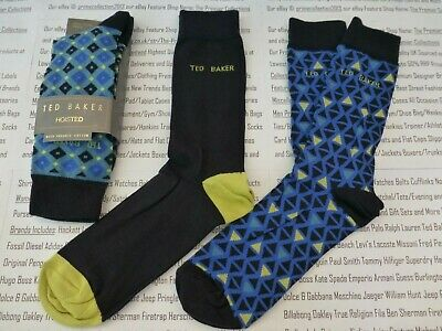 TED BAKER Sock Mens LADYWEL Hoisted Black mix O/S Organic Cotton 3/pk Socks BNIP