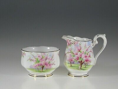 Royal Albert Blossom Time Creamer and Open Sugar, England c. 1934