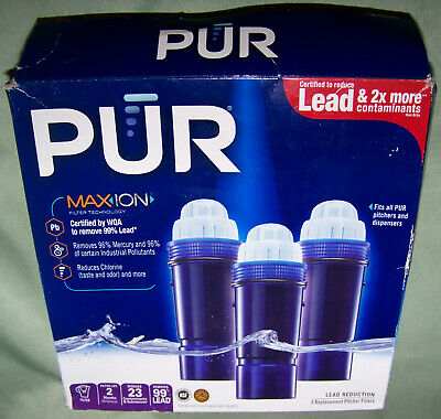 PUR Max Ion Standard Water Filter for Pitchers & Dispensers 3 Filters Open Box
