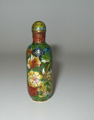 Authentic Antique Beautiful Chinese Cloisonne Snuff Bottle
