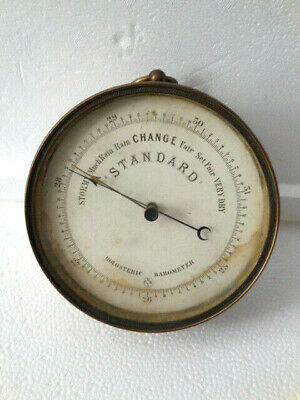 Original antique19th Century  French HPBN Holosteric-Brass Barometer with Glass