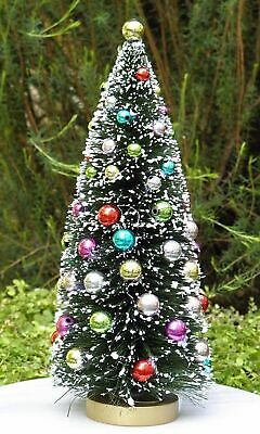"8½"" Green w Frost & Beads Sisal Bottle Brush CHRISTMAS TREE ~ Snow Village Putz"