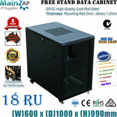 18U 18RU 19'' NETWORK DATA LAN CABINET 1000mm DEEP MOUNT SERVER DATA RACK Combo