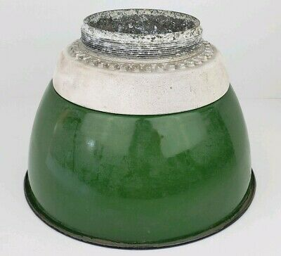 "Vintage Crouse-Hinds Explosion Proof Light Glass Globe 12"" Green Enamel Shade"
