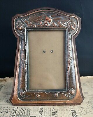 Antique Arts and Crafts copper picture frame, nautical