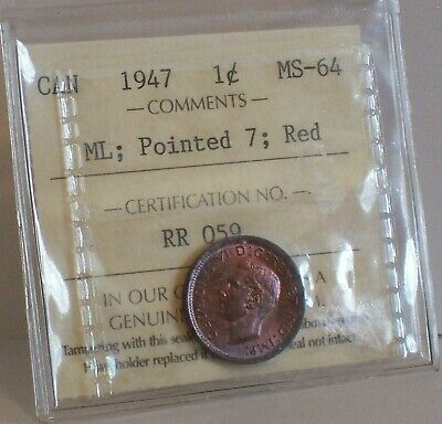 1947 CANADA 1c King George VI Small Cent One Penny Coin ICCS MS-64 RED, ML, P7