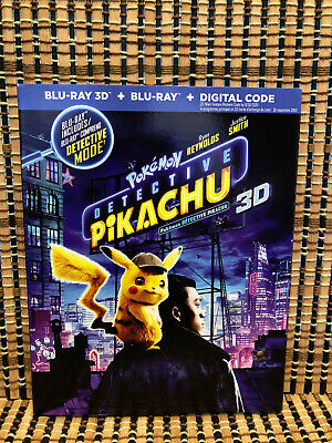 Pokemon Detective Pikachu 3D (2-Disc Blu-ray, 2019)+Slipcover.Ryan Reynolds