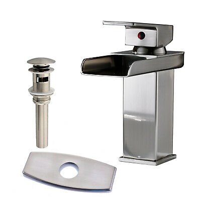 Waterfall Brushed Nickel Bathroom Basin Faucet Sink Mixer With Drain &Cover Tap