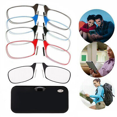Universal Portable SOS Wallet Reader Nose Clip On Mini Reading Glasses With Case