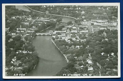 Ft Fort Atkinson Wisconsin wi Air View Real Photo Postcard RPPC