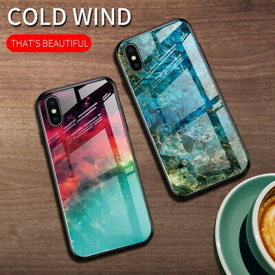 Gradient Marble Glass Hybrid Hard Case Cover For iPhone 11 Pro Max XS XR X 8 7 6