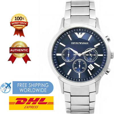 100% New Mens Emporio Armani Ar2448 Blue Dial - Stainless Steel Watch