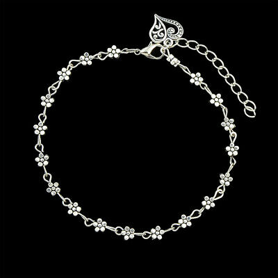 925 Sterling Silver Filled Anklet Heart Dangle Pendant Flower Charm Jewellery