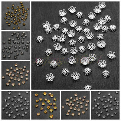 1250 PCS Wholesale Gold /Silver Plated Flower Bead Caps Jewelry Findings 10mm