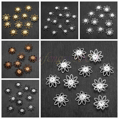 500 PCS Wholesale Gold /Silver Plated Flower Bead Caps Jewelry Findings 21mm