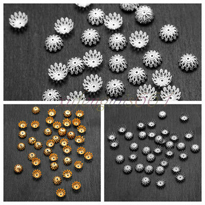 1000 PCS Wholesale Gold /Silver Plated Flower Bead Caps Jewelry Findings 9mm