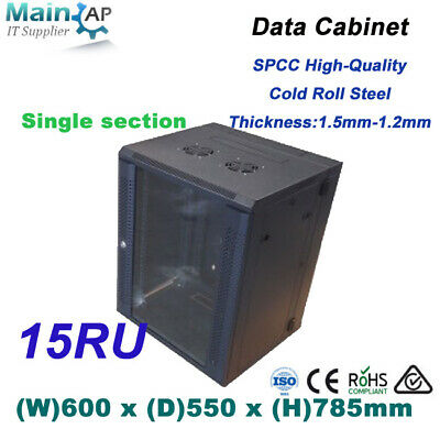 15RU 15U 19'' NETWORK DATA LAN CABINET 550mm DEEP MOUNT SERVER DATA RACK Combo