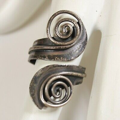 Vintage Sterling Silver Taxco Mexico Spiral Modernist Bypass Ring Size 9