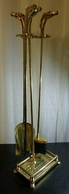Vintage Brass Iron Horse Head Fire Poker Tools Fireplace Stand Equestrian