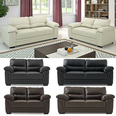 2/3 Seater Faux Leather Sofa Corner Couch Settee Suite Black Brown Cream Coffee
