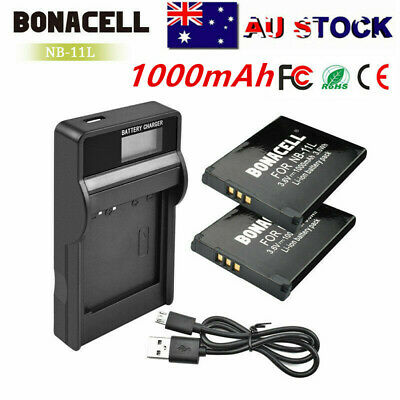 2× NB11LH NB-11L Battery Or LCD Charger for Canon Digital IXUS 175 180 185 190