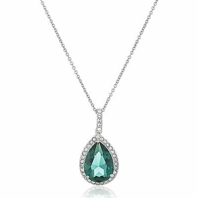 Crystaluxe Pear Pendant with Green Swarovski Crystals in Sterling Silver, 18""