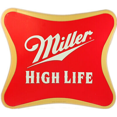 Vintage Miller High Life Sign Script Logo Large Metal Bar Pub Man-Cave Beer Tin