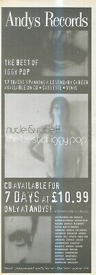 """(Anew3) Advert 15X6"""" Iggy Pop : Nudes And Rudes At Andy Records"""