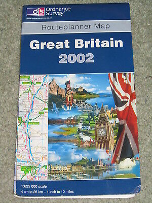 OS Ordnance Survey Great Britain Routeplanner Map 2002 1:625,000 scale