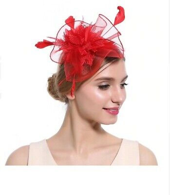 Women Elegant Flower fascinator Hairclip & hairband wedding royal ascot - Red
