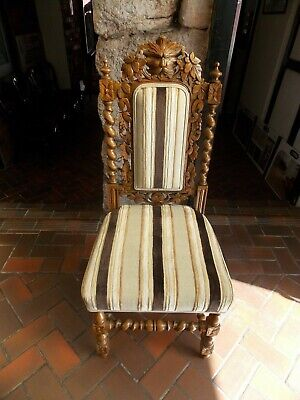 Victorian carved & upholstered green man hall chair