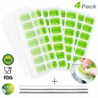 4 PACK SILICONE ICE CUBE TRAYS BOX +3Pc STAINLESS STEEL DRINKING STRAW BRUSH KIT