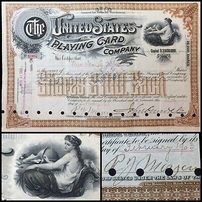 1903 U.S. Playing Cards Company Scripophily Certificate Signed by R.J. Morgan