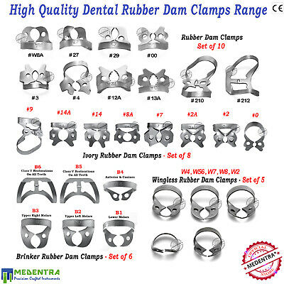 Universal Dentists Dam Clamps Rubber Dam Upper Lower Jaw Ivory,Brinker,Wingless