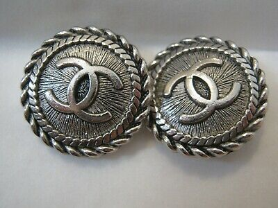 CHANEL  2 CC  LOGO SILVER  18mm BUTTONS THIS IS FOR TWO