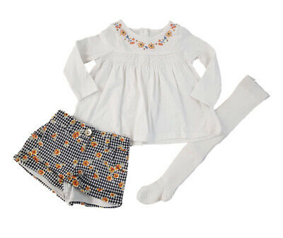 Ex Store Baby Girls Dogtooth Shorts Floral Top & Tights Oufit Set  6 9 12 18 24