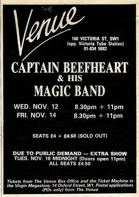 15/11/80pgn06  Advert: Captain Beefheart & Magic Band Live At The Venue 7x5