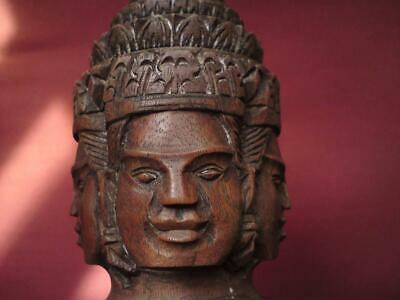 Vintage Cambodian four-face Buddha carved wood Brahma bust