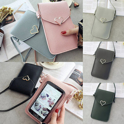 Girls Women Crossbody Leather Clear Back Mobile Phone Purse Small Shoulder Bags